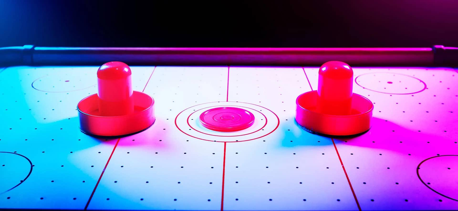 Air Hockey Wooden Mini Table Top Game Set Kids Desktop Arcade Play Toy Family Fun Xmas Gift Hatha